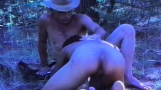 Horny cowboy wants to have fun with a sexy ebony hunk in the woods
