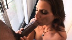 Tony Eveready shoves his black prick deep down Brooke April's throat