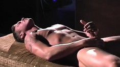 Muscled young soldier strokes his dick until it explodes with pleasure