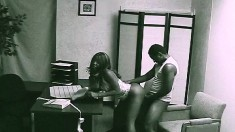 Sexy Slender Secretary With Hot Legs Gets Caught Fucking In The Office