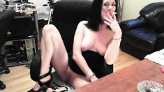 Wild lady in high heels reveals her body and masturbates on the webcam