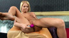 Gorgeous blonde relishes every moment of her time with a pink sex toy