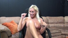 Ravishing blonde with wonderful big boobs Brooke Fox loves hard meat
