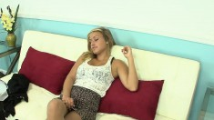Busty Blonde Girl With Sexy Legs Kennedy Leigh Sensually Masturbates