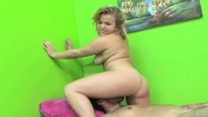 Buxom blonde with a phenomenal ass Amber Kate is a ballbusting expert