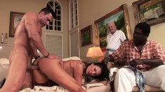 Mrs. Holloway Fucks A Raging Shaft With Great Intensity On The Couch