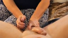 Her Plump Hubby Pleases Using A Handjob