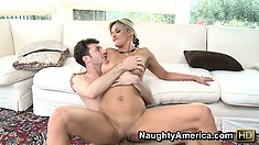 Klarisa Leone riding his cock blows him then gets fucked again