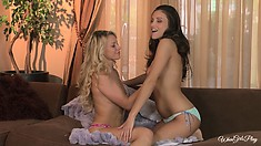 Sexy blonde and brunette babes take an afternoon break for lesbian love