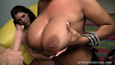 MILF with gigantic titties teaches her slutty daughter how to bone