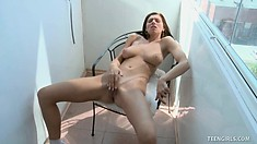 Teen Tessa masturbates naked for the camera, what a great show