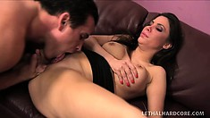 Hot brunette lawyer Aleska strips off her clothes and gets fucked hard in the office