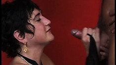Horny cougar in sexy black lingerie has a young stud roughly pounding her hairy twat