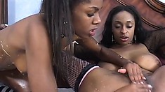 Carmen and Dena in hot lesbian action with tongues, toys, and face sitting