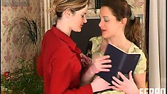 Ninette A and Joanna switch from boring studying to steamy lesbian sex