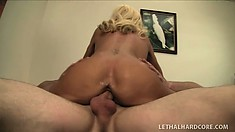 Horny blonde milf with big round boobs and sexy slims legs loves to fuck a hard cock