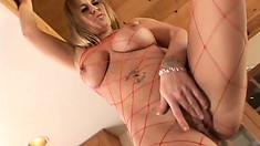 Girl in red lingerie Jaylyn Rose plays nasty foot fetish games
