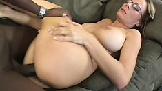 Lustful blonde milf can't get enough of a black dick banging her cunt