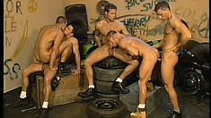 Secret back alley is the meeting place of horny gays looking for some fun