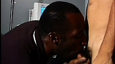 Sexy black stud has a hot Latino fucking his tight ass in the office