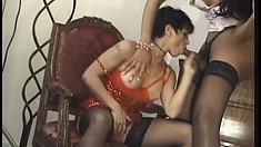 Brunette gal in a photo shoot with a tranny gets the cameraman so horny he joins them