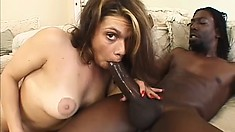 Slutty brunette with big tits finds intense pleasure in a black cock