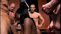 Nasty black girl has a group of horny dudes drilling her tight holes