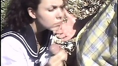 Amateur coed gets him hard with her mouth and then gets her hot butt nailed