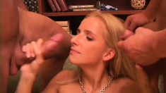Beautiful young blonde gets nailed hard by two hung guys on vacation