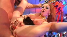 Sexy blonde hooker gets roughed up by her well hung biker dude