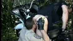 Two Cops Meet In The Bushes For Tryst Of Cock Sucking And Ass Banging