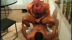 Muscular navy lovers suck each other off and pound some tight ass