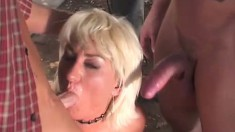 Blonde bitch with huge fat curves gets slammed by three cocks