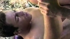 Gay stud Camillo gets his needy butt hole pounded hard in the forest