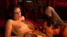 Wonderful brunette seduces a hung stud and has him banging her twat all over the bed