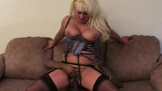Chubby blonde MILF in a blue corset gets her holes filled by a BBC