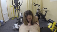 Workout in the gym turns into a workout on his throbbing pole