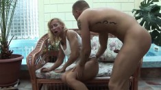 Lustful blonde milf invites a young stud to deeply fuck her fiery cunt