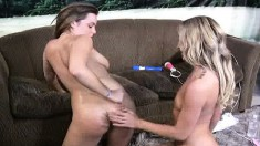 Smoking hot lesbian bimbos warm each other up for a big surprise