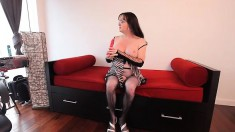 Kinky shemale in sexy lingerie drills her fiery anal hole with a dildo
