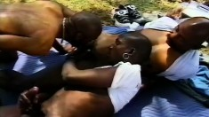 Three lustful black boys engage in hardcore gay action in the outdoors