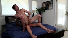 Lustful gay stud feeds his hungry anal hole his lover's throbbing pole