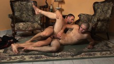 Handsome Young Guy Has A Married Stud Drilling His Lovely Ass Bareback