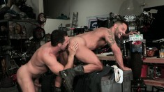 Two insatiable guys bring their anal fantasies to life in the garage