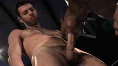 Interracial gay studs drill each other's asses with a double-ended toy
