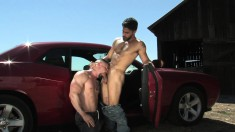 Two handsome studs indulging in exciting gay action under the hot sun