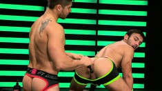 Two Muscled Cocksuckers Engage In Wild Anal Sex In Their Jockstraps