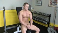 Tommy Peels Off His Clothes And Drives Himself To Pleasure In The Gym