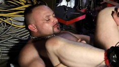 Tattooed gay stud has a beautiful brunette guy fisting his anal hole