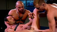 Dark-haired Stud Spreads His Legs To Take Two Buddies' Fists And Dildos In His Ass